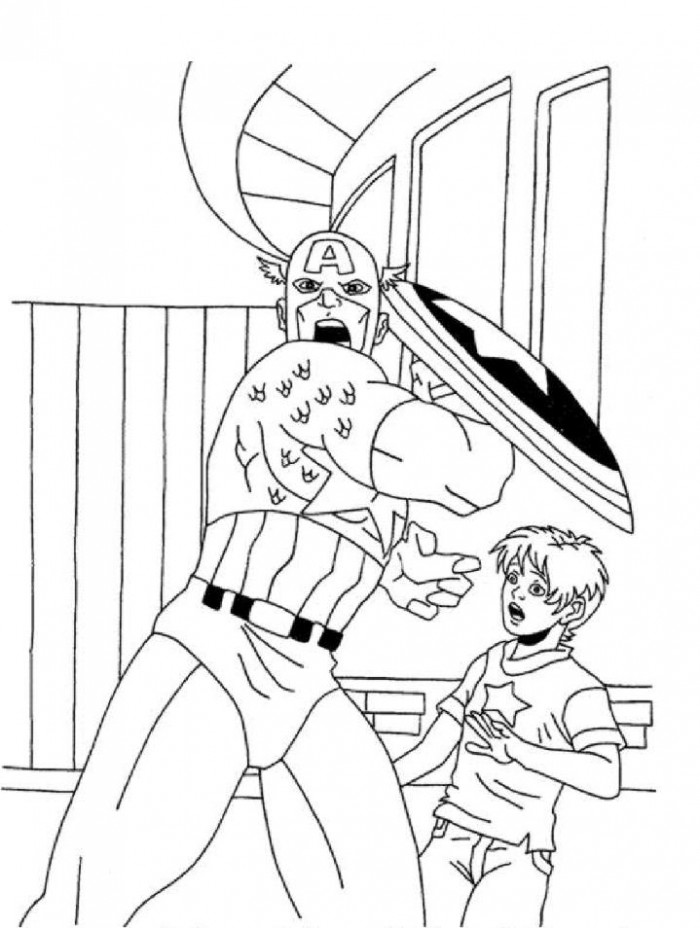 Captain America Coloring Page For Boys | Kids Coloring Page