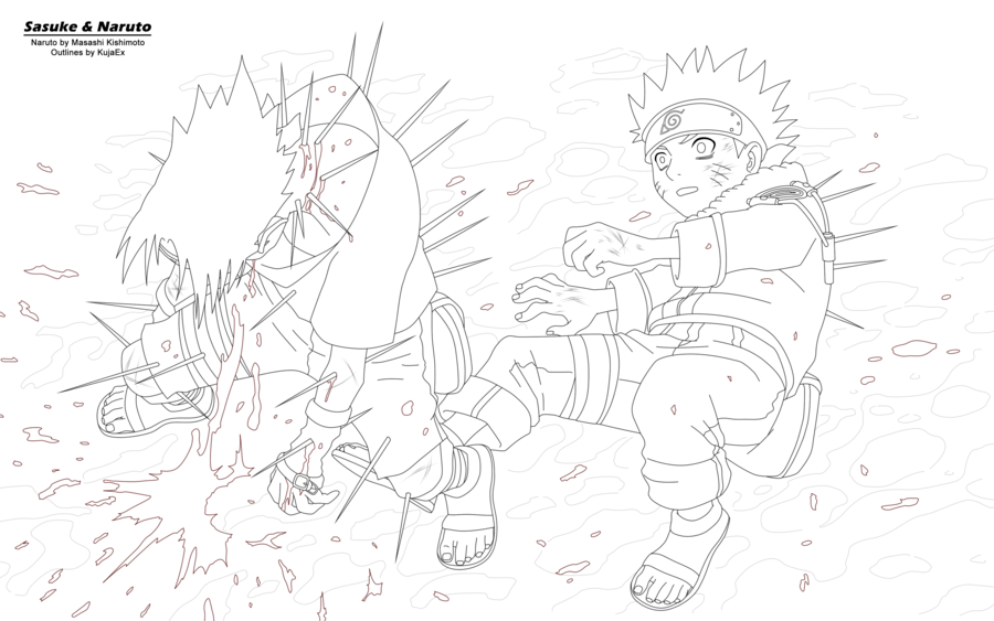 Sasuke and Naruto Outlines by KujaEx on deviantART