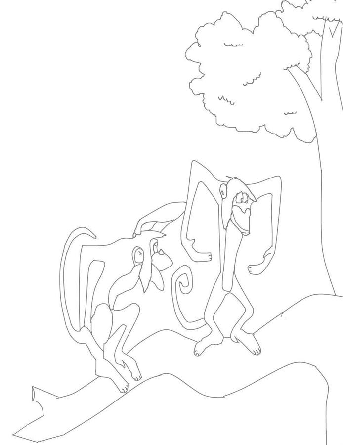 Monkeys coloring printable page for kids: Monkeys coloring ...