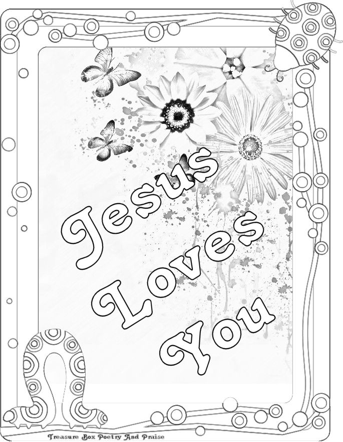 Childrens Gems In My Treasure Box: Jesus Loves You - Coloring Sheet