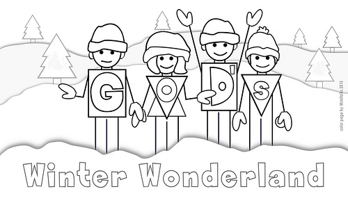 God's winter wonderland snow people color page for legal size ...