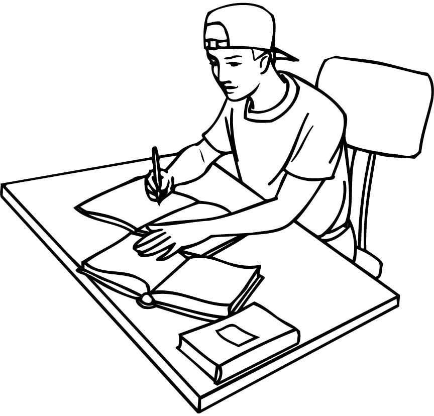 printable outline of a student studying with books - Coloring Point