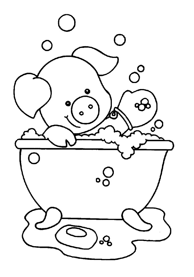 Fun Coloring Pages: Bath room/taking a bath coloring pages