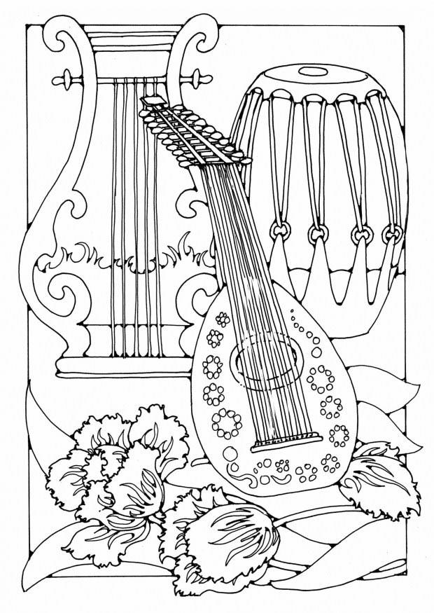 coloring pages music instruments