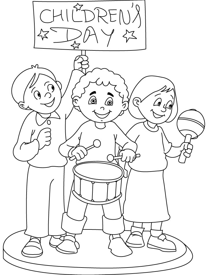 Band of Children Performing on Children's Day Coloring Pages ...