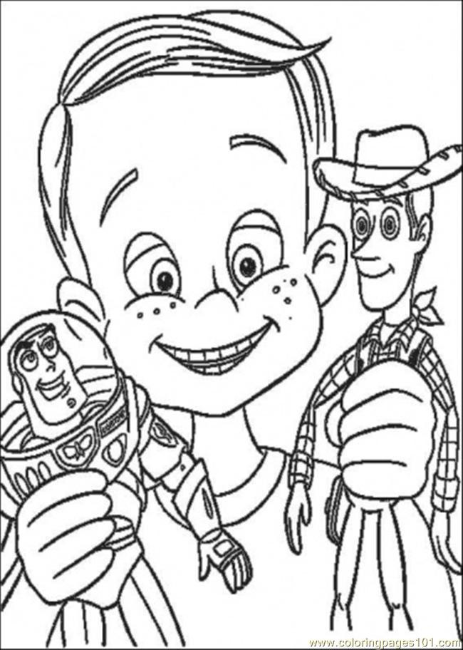 Coloring Pages Andy Have Buzz Lighyear And Woody Sheriff (Cartoons ...
