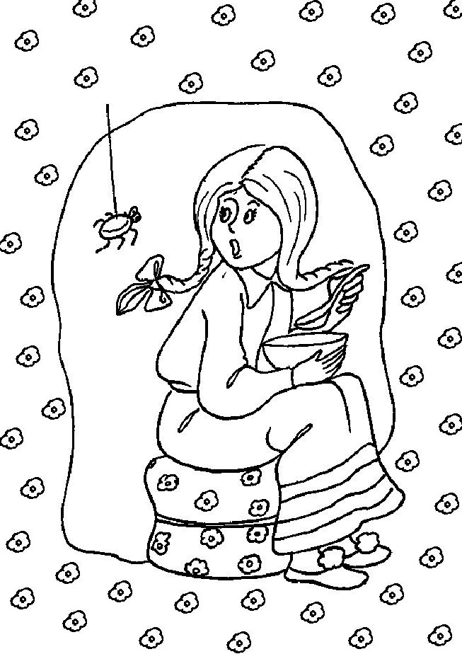 Free Preschool Coloring Pages of Girl Frightened From Spider ...