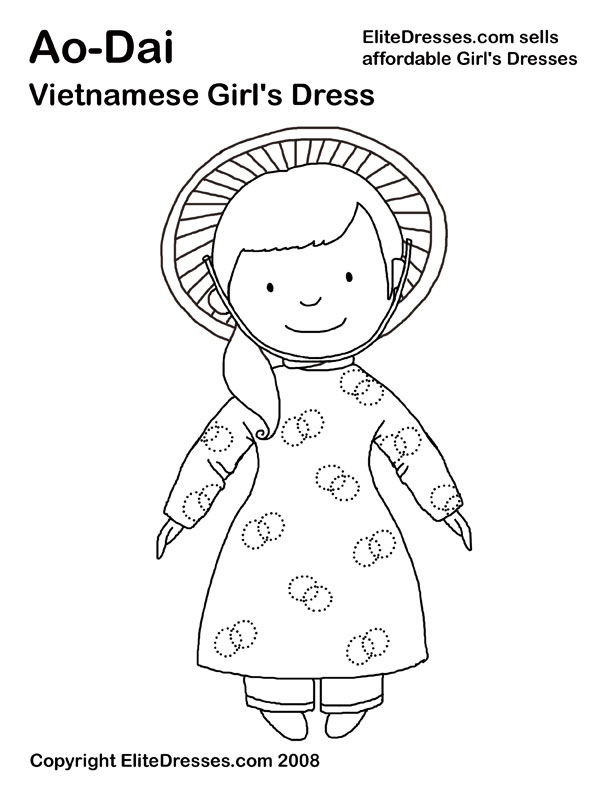 Chinese Coloring Pages - Chinese Dresses