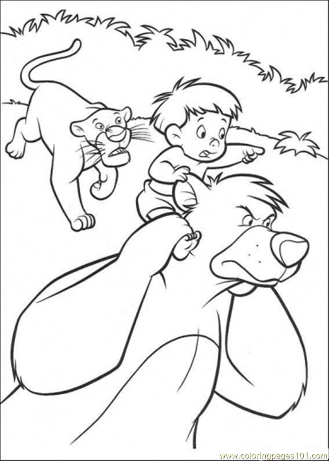 Coloring Pages Baloo Bagheera And A Boy Is Running Together ...