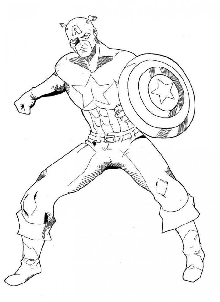 Standing Still Captain America Coloring Page | Kids Coloring Page