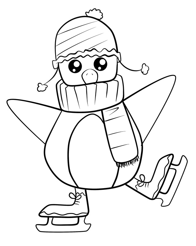 Baby Penguin Trapped In a Box Coloring Page | Kids Coloring Page