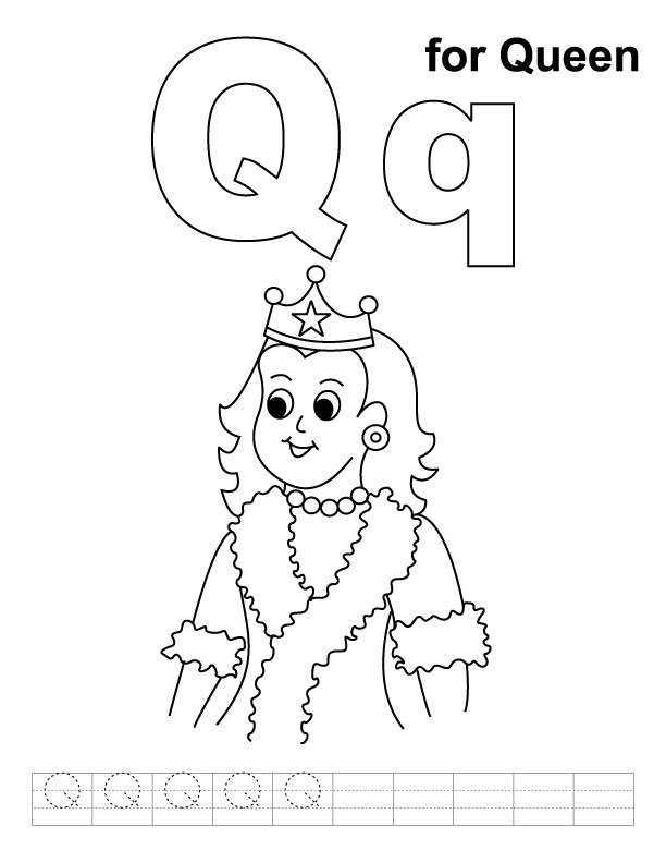 Letter Q is for Queen coloring page  Free Printable