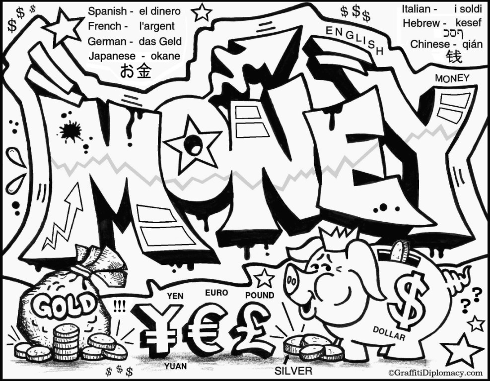 Money Free Coloring Page Graffiti Drawing Easy. Part of Graffiti ...