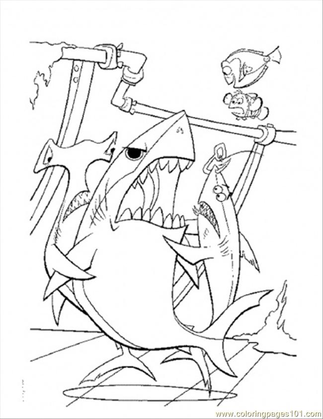 Coloring Pages Bruce Want To Eat Dory (Cartoons > Finding Nemo ...